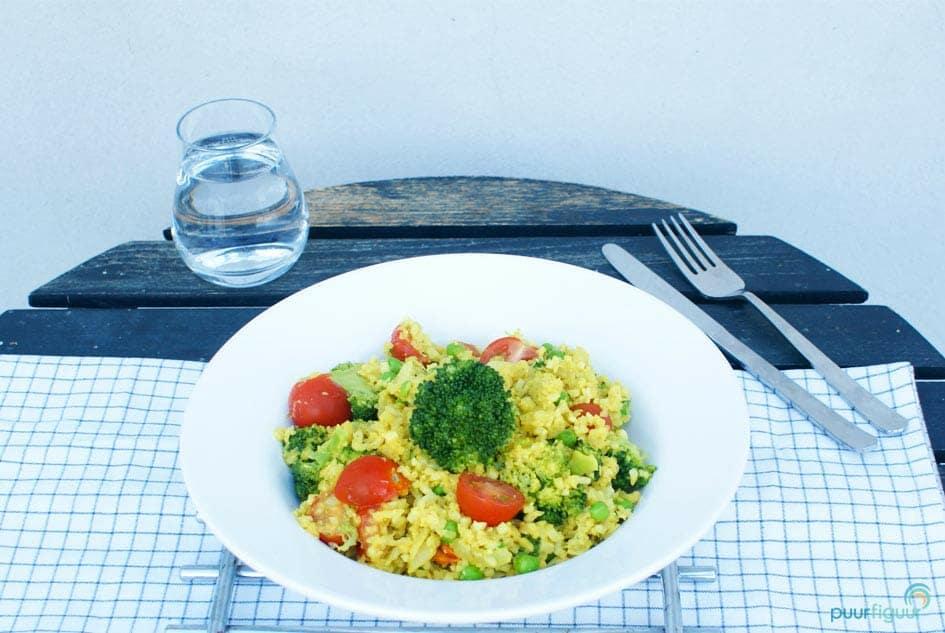 broccoli curry met bloemkoolrijst